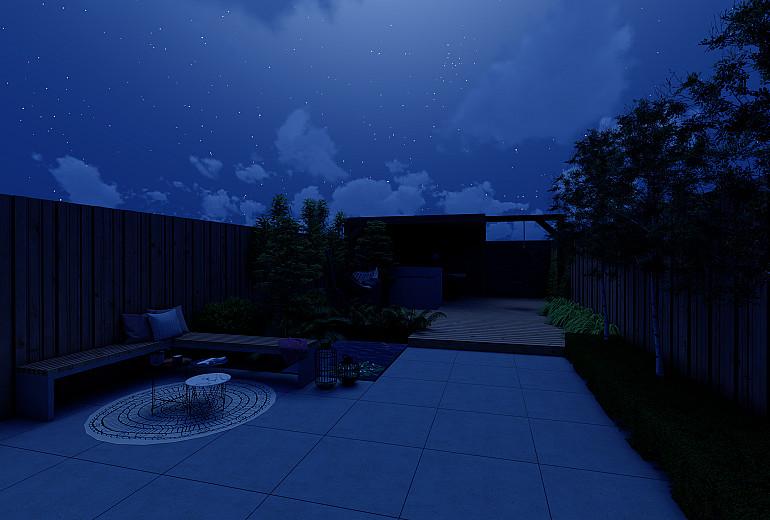 Nieuwbouwtuin 's avonds zonder verlichting