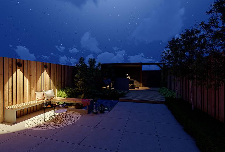 Nieuwbouwtuin 's avonds voorzien van kant & klaar verlichtingspakket 1