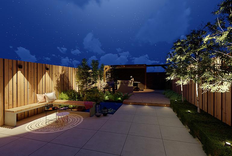 Nieuwbouwtuin 's avonds voorzien van kant & klaar verlichtingspakket 2