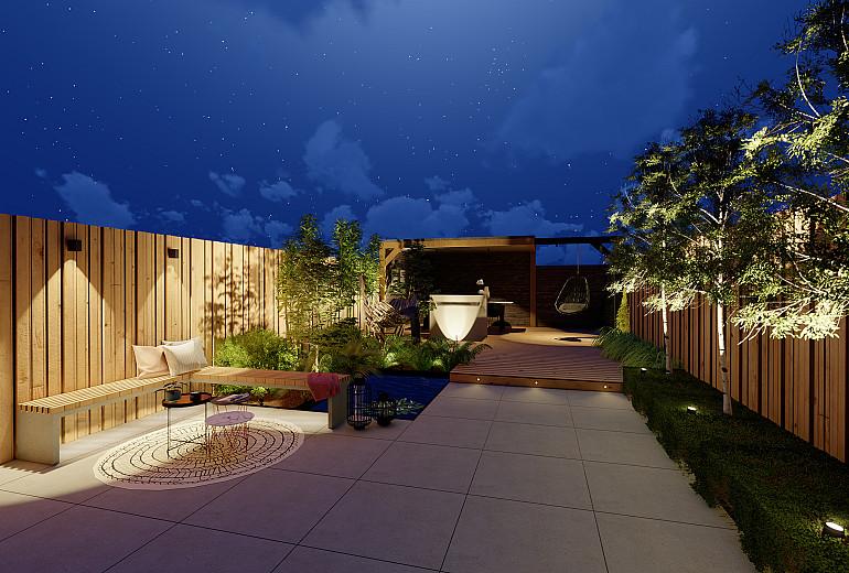 Nieuwbouwtuin 's avonds voorzien van kant & klaar verlichtingspakket 3