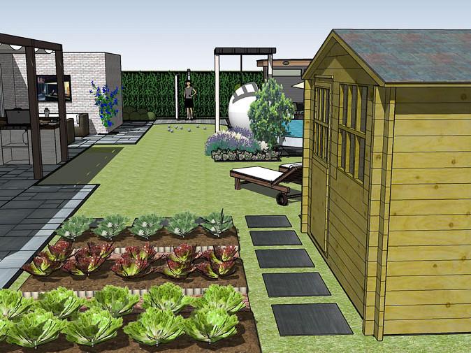 3d tuinontwerp moestuin